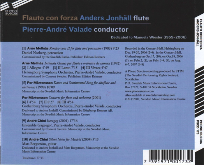 Flauto con forza, Anders Jonhäll, flûte, direction Pierre-André Valade, détails