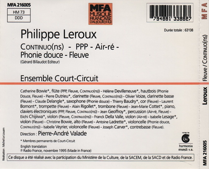 Music by Philippe Leroux, conducted by Pierre-André Valade, back-cover